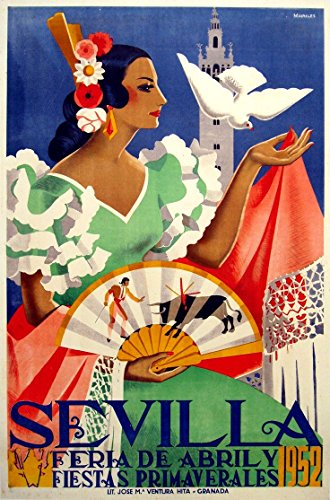 sevilla-1952-wonderful-a4-glossy-art-print-taken-from-a-rare-vintage-travel-poster