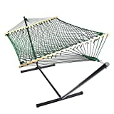 Sunnydaze Green Caribbean XL Rope Hammock with Spreader Bars and Stand Combo, 130 Inch Long x 55 Inch Wide