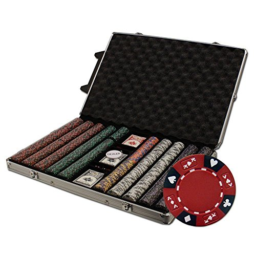 Brybelly 1000-Count Ace King Suited Poker Chip Set In Rolling Aluminum Case, 14Gm
