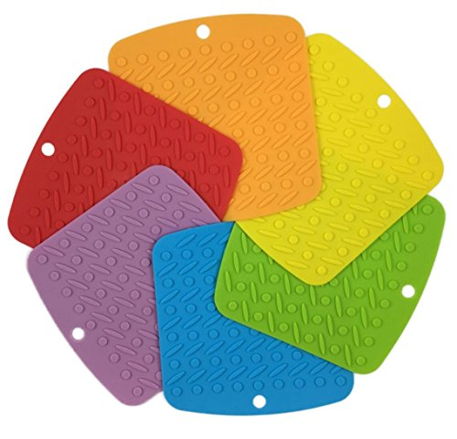 RedLantana Silicone Trivet and Pot Holder – Set of 6 – Also Best Used As Jar Lid Opener, Garlic Peeler and Spatula Rest – 7″ x 7″ Fun Colors (Red – Orange – Yellow – Green – Blue – Purple)