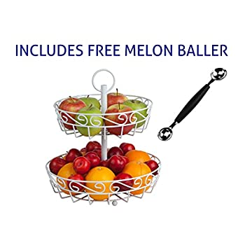 Cream 2-tier fruit basket stand with FREE melon baller. A stunning centerpiece for the countertop. Open fruit metal basket keeps fruit fresher for longer.