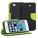 GMYLE(R) Black & Wasabi Green Cross Pattern PU Leather Protective Flip Folio Slim Fit Magnetic Wallet Stand Case Cover for iPhone 5C 5 5S