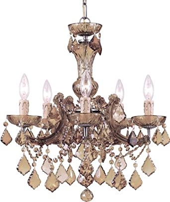 Crystorama Lighting Group 4476-AB-GT-MWP Crystorama Lighting Group 4476-CL Maria Theresa 5 Light Candle Style Crystal Cha, Antique Brass / Golden Teak Hand Polished
