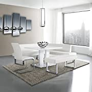 Armen Living LCAMDIWHTO Amanda Dining Table with White and Brushed Stainless Steel Finish
