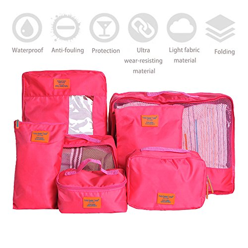IMEEA® Varisized Light Organizer Storage Luggage Bags for Travel Camping for Clothing Cosmetics Shoes Socks Underwares Bras Ties, Set of 7 (Pink)