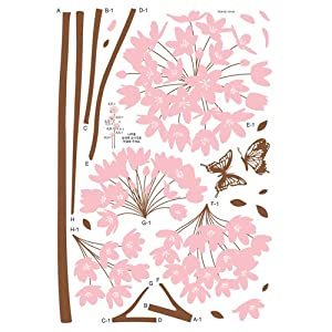 Nursery Easy Apply Wall Sticker Decorations - Long Stem Pink Flower Butterfly Petals from HYUNDAE sheet