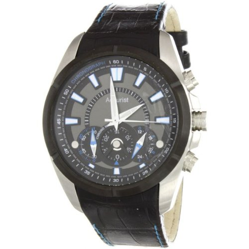Accurist MS825BN Gents Chronograph Black Leather Strap Black Dial With Blue Detail Watch