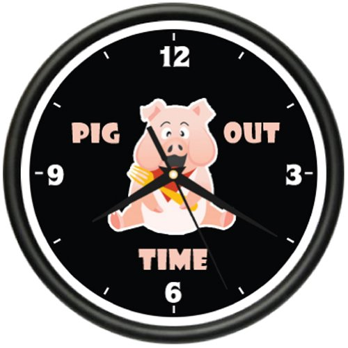 PIG OUT TIME Wall Clock pigs bbq barbque restaurant (Restaurant Bbq compare prices)
