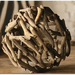 Kalalou Natural 12-Inch Small Driftwood Sphere
