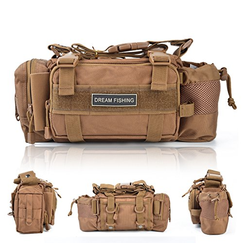buy BLISSWILL Outdoor Multifunctional Fishing Tackle Bag Water-Resistant sided Waist Shoulder Carry Strap Storage Waist Pack Sling Bag Fishing Gear Storage for Fishing Hiking Climbing Hunting (Khaki) for sale