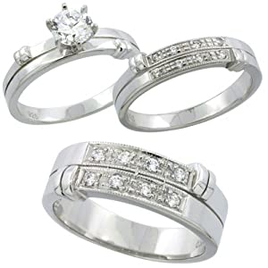 sterling silver cubic zirconia trio engagement