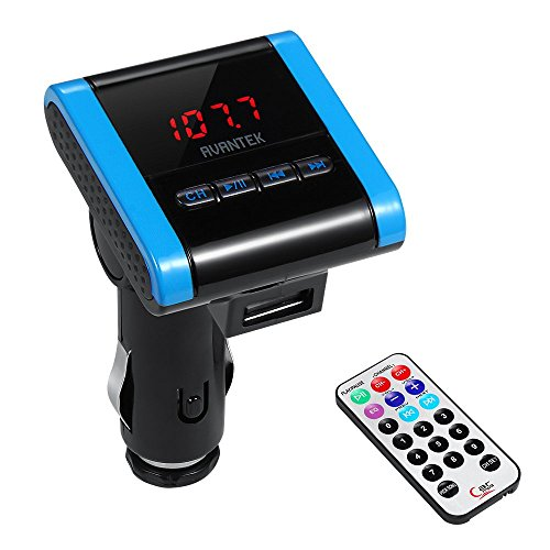 AVANTEK Trasmettitore FM per Auto Radio Modulatore Lettore MP3 Veicoli Wireless con Caricabatteria USB e Telecomando, Supporta Musicali MP3 e WMA da Schede SD