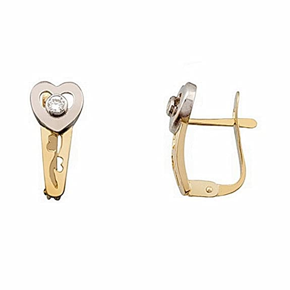 18k gold heart earrings bicolor close zirconia Catalan [6613P]