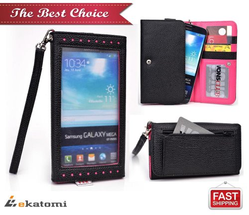 [Expose] Universal Women'S Wallet Wrist-Let With Clear Screen Protector Fits Lg Intuition Vs950 Phone Case - Black & Hot Pink. Bonus Ekatomi Screen Cleaner front-1073482