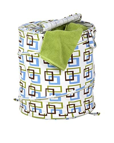 Honey-Can-Do Large Patterned Pop Open Hamper, Brown/Green Squares