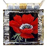 "Eco Art Print Necklace: ""Red Poppy Flower"""