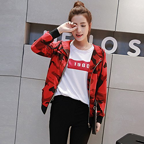 XMQC*Preppy ragazze cadere con la felpa con cappuccio junior secondarie di alta scuola cardigan giacca a maniche lunghe Camicia camouflage ,M, rosso