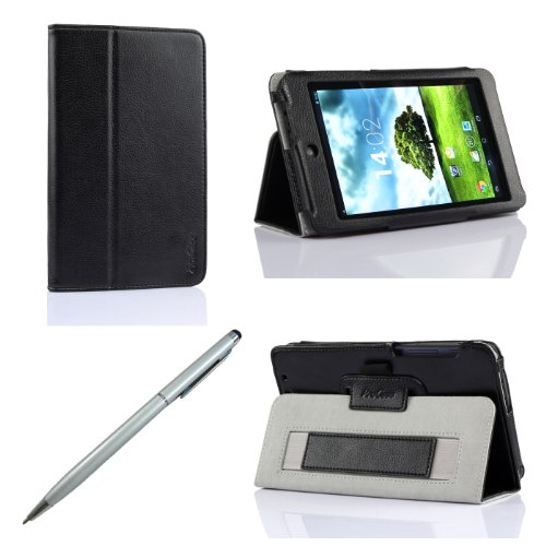 ProCase ASUS MeMO Pad HD 7 Protective Case with bonus stylus pen - Flip Stand Leather Cover Case for ASUS MeMO Pad HD 7 Inch Tablet 8GB 16GB 32GB, Built-in Stand, ME173 (Black)