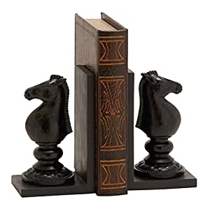Deco 79 Polystone Knight Chess Bookend Pair, 5 by 8-Inch, Walnut Brown/Black
