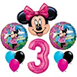 Minnie Mouse #3 3rd Third Happy Birthday Balloon Party Set Mylar Latex Disney
