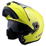 LS2 Helmets FF386 Solid Modular Helmet (Hi-Vis Yellow, X-Large)