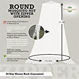 Mosquito Net Canopy Zipper Curtain | Large Bug Barrier Circular Netting for Hammocks, Outdoor Spaces & Double Beds | Travel Carry Pouch and Hanging Kit Included | By Posh Earth