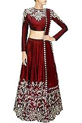 Fabron Women's Raw Silk Lehenga Choli (LCHE9DW7HXT8W6VE-M _ Maroon _ Free Size)