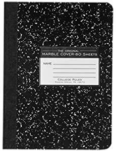 Roaring Spring Marble Composition Book Black 9.75x7.5 80 Sht College Ruled 77226 Pack Of 6