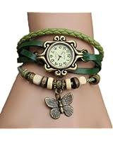 Domire Fashion Accessories Trial Order New Quartz Fashion Weave Wrap Around Leather Bracelet Lady Woman Butterfly Wrist Watch