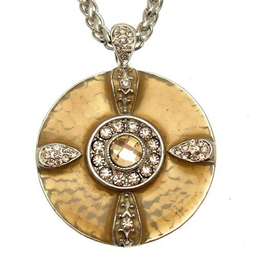 Acosta - Peach Crystal & Tan Enamel Disc Necklace