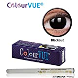 ColourVUE 14MM Crazy Lens Blackout Color Zeropower Yearly Contact Lens with Free Eye/Lip Liner (2 Lens Pack) By Visions India