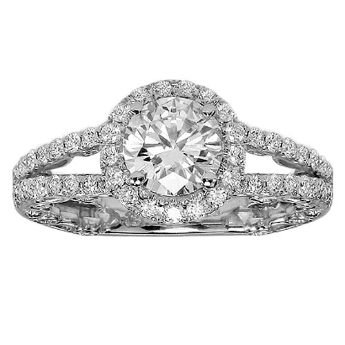 2.22 CT TW Pave Set Round Diamond Halo Engagement