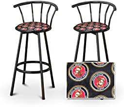 2 United States Marines Upholstery Custom Black Barstools with Backrest Set