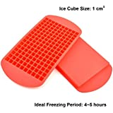 Icicle Red Frozen 160 Mini Cubes Silicone Ice Tray 100% Food Grade Silicone (Pack of 2)