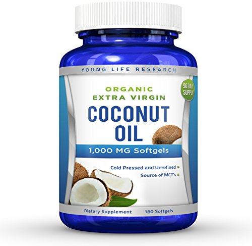 Coconut Oil Capsules - 1000 mg Organic Extra Virgin - 180 Softgels - Great Pills for Hair, Skin, Energy and Weight Management (Aceite Extra Virgen De Coco compare prices)
