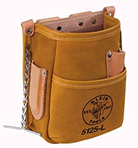 Klein Tools 5125L Leather 5-Pocket Tool Pouch with Tape Thong