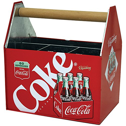 Retro Coca-Cola Coke Galvanized Embossed Metal Napkin Holder Utensil Caddie