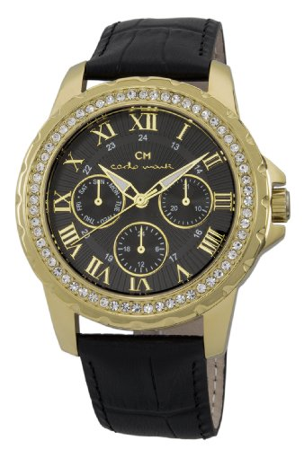 Carlo Monti Catania Women's Quartz Watch with Black Dial Analogue Display and Black Leather Strap CM600-222