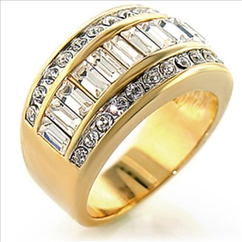 11mm Wide Band Ring Gold Plated Cubic Zirconia (6)