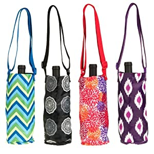 4 Sachi Foldable Insulated Wine Tote Cooler Water Bottle Shoulder Bag + Gift Box