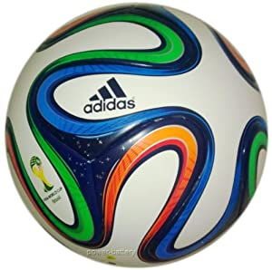 adidas Brazuca Junoir 350 Ballon de foot Enfant White/Night Blue F13/Multicolor Taille 4-5