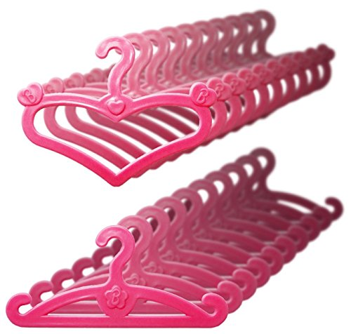 Qiyun Doll Hangers, Set of 20 Pink Plastic Hangers, Fits 11.5 Inch Barbie Dolls Clothes