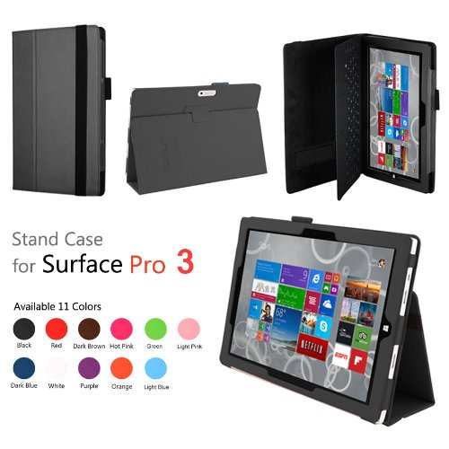 Elsse (TM) Premium Folio Case with Stand for Microsoft Surface Pro 3 (Surface Pro 3, Black)