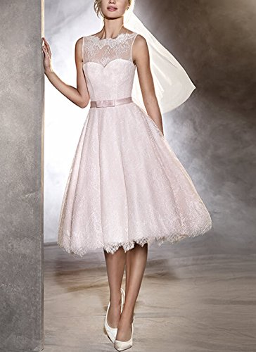 FNKS Women's Tea Length Wedding Dresses Lace 1950s Vintage Dresses Ball Gowns 2