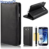 Galaxy S3 Case, Galaxy S3 Wallet Case, Nccypo Latest Luxury Premium PU Leather Wallet Protective Case Cover For Samsung Galaxy S3 i9300[Built-in Stand Credit Cards Holders Design-Black] with Stylus, Screen Protector and Cleaning Cloth