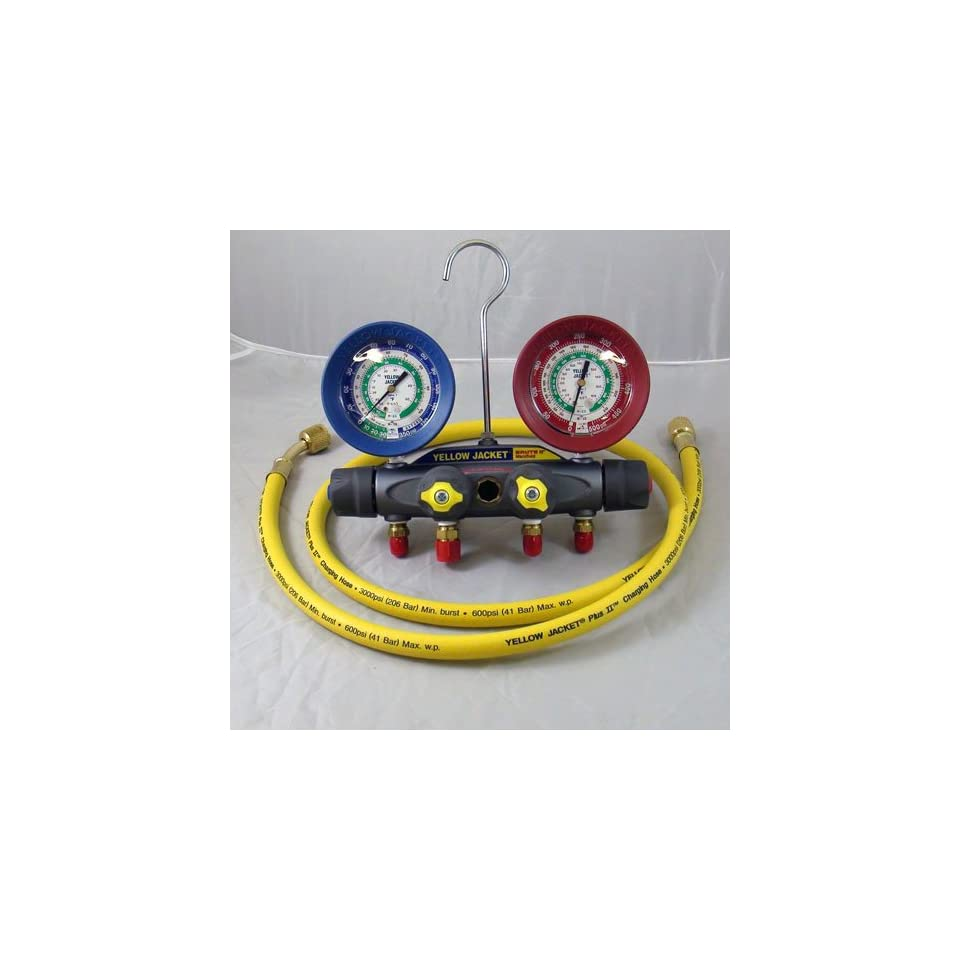 Yellow Jacket 46022 Brute II Test and Charging Manifold, F/C, Red/Blue Gauge, psi, R 12/22/502