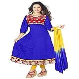 Khodiyar Creation Women's Cotton Embroidered Blue Color Dress Materials