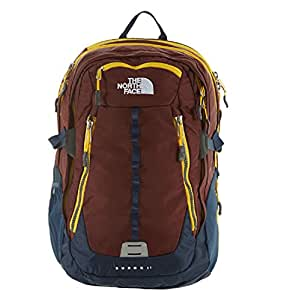 The North Face Unisex Surge II Cherry Stain Brown/Spectra Yellow Backpack