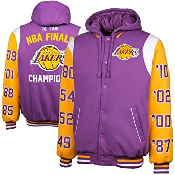 NBA Los Angeles Lakers NBA Champs Commemorative Button Fleece Hoodie Jacket - Purple by G-III Sports