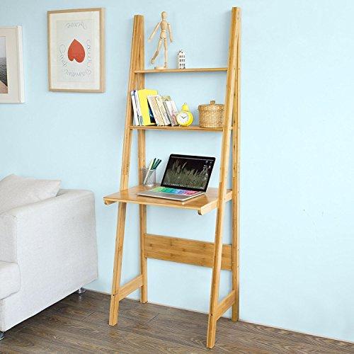 SoBuy FRG60-B-N, Bamboo 5 Tiers Ladder Bookcase, Storage Display Shelving Unit Wall Shelf ,book shelf,wall shelf (Computer Desk Wall Unit compare prices)